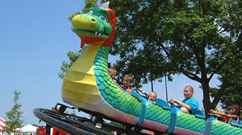 The Dragon Wagon. Riders 36 inches to 48 inches must ride with an adult.